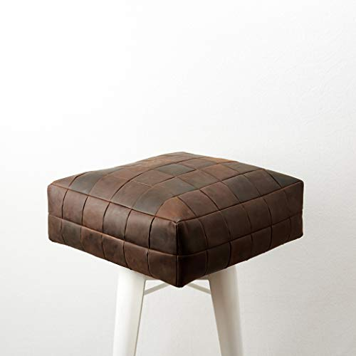 Capra Leather Brown Floor Cushion Pillow Seating. Ottoman Pouf Window Seat. Square pillow seat personalized size.Yoga and Home Furniture.