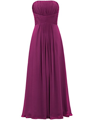 Long ANTS for Dresses Maroon Weddings Chiffon Bridesmaid s Women Strapless tUtnqwTpv