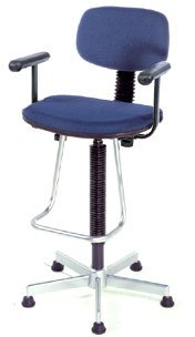 Nexel Office Stool With Teardrop Footrest And Adjustable T-Arms, Blue Fabric