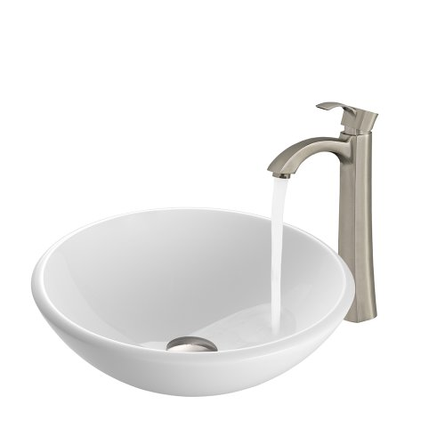 VIGO White Phoenix Stone Vessel Sink and Otis Vessel Faucet with Pop Up, Brushed Nickel