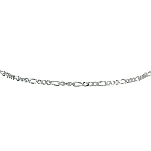 - Sterling Silver 2.5mm Italian Figaro Link Chain Choker Necklace
