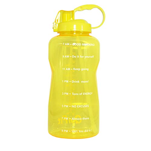Motivational Gallon Water Bottle 64OZ/128OZ with Unique Timeline/Measurements/Goal Marked Times for Measuring Your Daily Water Intake, Large BPA Free Non-Toxic Water Jug (128OZ, 128OZ-yellow)