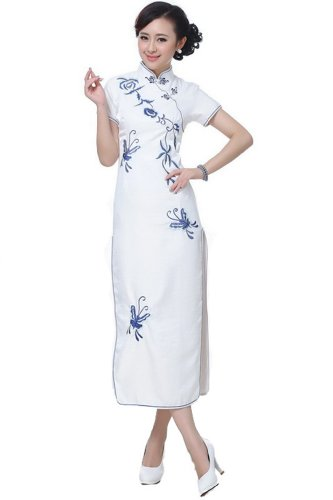 """Price comparison product image JTC Wedding Cheongsam Chinese Dress Han Jag Skirt Costume Embroidery Qipao White (12(approx):Bust 39.75""""----Waist 33.80""""----Hip 41.70"""")"""