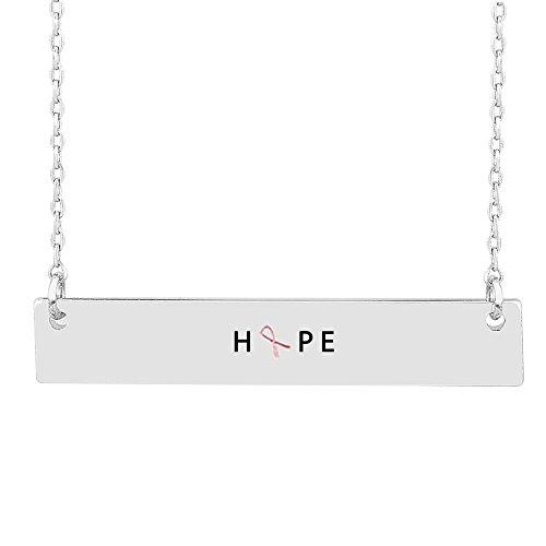 (Me Plus Inspirational Hope Pink Ribbon Breast Cancer Awareness Horizontal Engraved Bar Pendant Necklace - Silver)