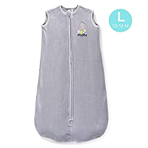 ECORE Wearable Blanket-Stretchy Sleeping Bag,(12-18 Months) TOG 1.0,Micro-Fleece,2 Way Zipper,Unisex,Grey,Large