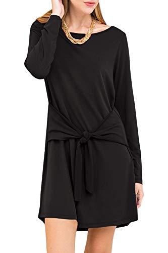 Spadehill Women Long Sleeve Flowy Knot Tie Front Casual Plain Loose Fit Tunic Dress Black S