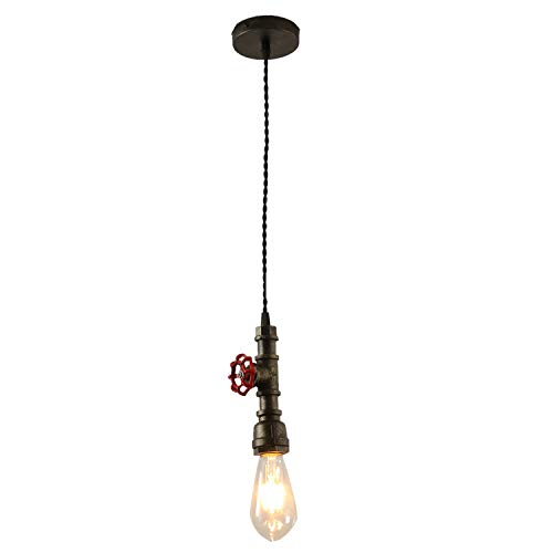 INJUICY Steampunk Pendant Lights, Vintage Metal Water Pipe Ceiling Lamps Fixtures for Balcony, Stairs, Cafe, Bar, Bedrooms