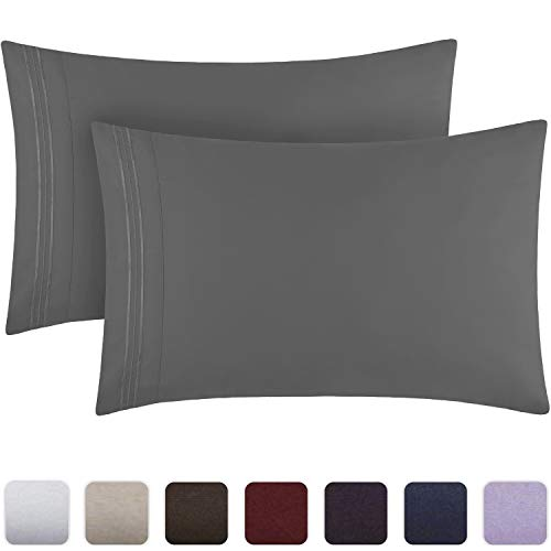 Mellanni Luxury Pillowcase Set - Brushed Microfiber 1800 Bedding - Wrinkle, Fade, Stain Resistant - Hypoallergenic (Set of 2 Standard Size, Gray)