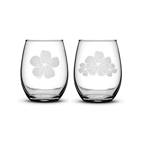 Premium Stemless Wine Glasses, Set of 2, Plumerias, Hand Etched 14.2oz Stemless Gifts, Made in USA, Sand Carved by Integrity Bottles