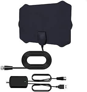 MASOMRUN Antena TV Interior- Bqeel Antena TV portátil HDTV Digital con Amplificador de señal Inteligente para Canales de TV 1080P 4K gratuitos para DTMB, ATSC,DVB-T, DMB-T,ISDB -T: Amazon.es: Electrónica