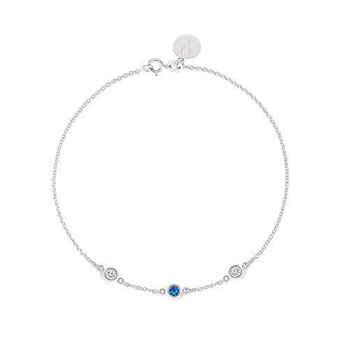 (TousiAttar Sapphire and Diamond Bracelet - Bezel set - Solid 14K or 18K Gold - Natural Stone - Elegant Jewelry Gift for Girlfriend - Delicate April and September Birthstones - Free Engraving)