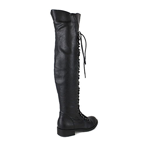 Shoe Dezigns Mark and Maddux Travis 05 Women Military Lace Up Thigh High Combat Boot Black
