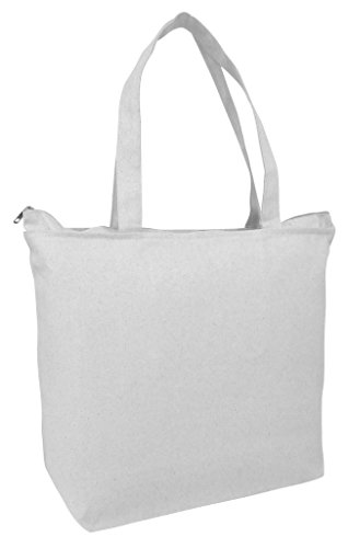 PACK OF 2 Heavy Canvas Reusable Plain Large Tote Bags with Zipper Top and Zipper Inside Pocket, Art and Craft Beach Travel Tote Bags by BagzDepot - TG261 - Shopping Plains In White