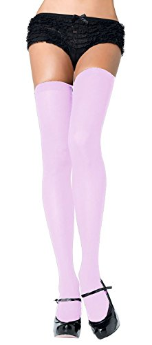 - Women One Size, Light Pink Opaque Thigh High Stockings
