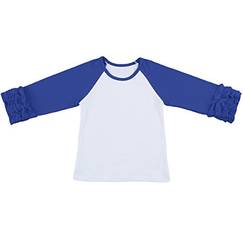 IBTOM CASTLE Toddler/Little Girls' Long-Sleeve Icing Ruffle T-Shirt Raglan Shirts 12M-8Y Cotton Top School Tee Cuff Undershirt Royal Blue (School Toddler Tee)
