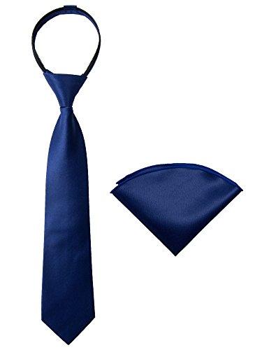 (Spring Notion Boys' Satin Zipper Necktie and Handkerchief Set Medium Navy Blue)