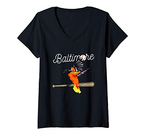 Baltimore Orioles Tee - Womens Baltimore Oriole Baseball Tshirt Original Bird Design V-Neck T-Shirt