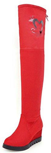 Idifu Womens Élégant Simili-daim Bout Rond Mi-talon Talon Au-dessus Du Genou Haute Bottes Rouge