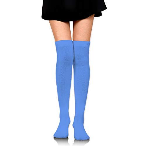 JINUNNU Women Thigh High Socks Over The Knee High Leg Warmer Cornflower Blue Solid Color Boot Stocking Extra Long Sport Tube Socks (Color Blue Cornflower)