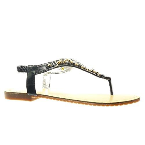 Angkorly - Chaussure Mode Sandale Tong salomés femme bijoux strass diamant fantaisie Talon plat 1.5 CM - Noir