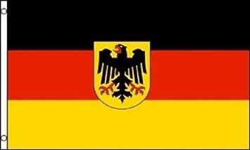 Bandera alemana de Alemania occidental, 3 x 5, con escudo de águila de nailon, mezcla de poliéster, 3 x 5 cm, el mejor material de poliéster para decoración de jardín, color vivo