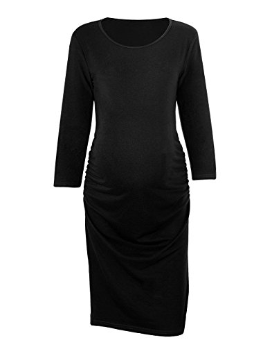 Maternity Round Neck Dresses (Akivide Women's 3/4 Sleeve Comfy Maternity Dress Round Neck Black M)