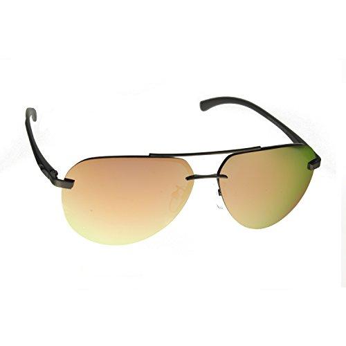 Zacway Polarized Spring Hinges Metal Rimless Aviator Oversized Sunglasses For Men Women UV400 63mm (Pink Copper Mirror Lens, - Sunglasses Aviator Copper