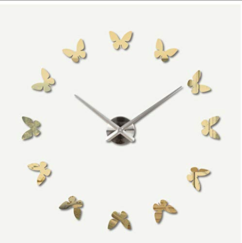 Huanxidp Modern Wall Clocks Home Decor Butterfly Wall Clock Arcylic Hanging Watches Home Mirror Wall Watches Living Room Decoration