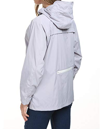 (Rain Jacket Women Classic College Tween 90s 80s Rainproof Reflective Raincoat(Gray,XL))