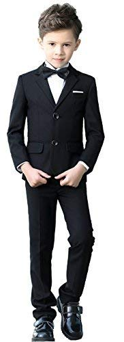 YuanLu Boys Colorful Formal Suits 5 Piece Slim Fit Dresswear Suit Set (Black, 7) -