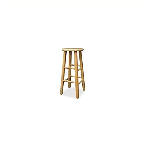 Winsome Wood 29-Inch Square Leg Barstool with Natural Finish, Set of 2 Round Rung