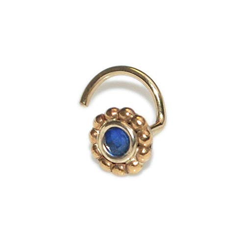 Gold 2mm Sapphire Nose Stud 20g / Tragus Stud, Helix Earring, Cartilage Stud
