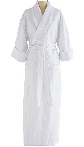 Full-Length Bathrobe - Diamond Jacquard Minx Lined Robe - 100% Cotton - Traditional Shawl Design - 4XL WHITE by Chadsworth & Haig (Image #3)