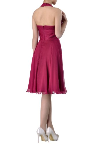 Chiffon Knee A Bridesmaid line Special Dress Natrual Halter Length Occasion Graugrün HwdIxPq