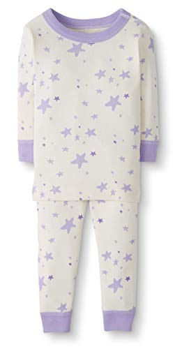 (Moon and Back by Hanna Andersson Baby/Toddler 2-Piece Organic Cotton Long Sleeve Star Print Pajama Set, Purple, 12-18 months)