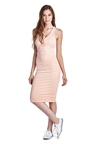 LaClef Women's Sleeveless Basic Racer Back Tank Midi Cotton Casual Dress (1X, Blush)