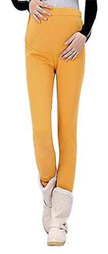 US&R Women's Plain Solid Color Warm Winter Maternity Secret Fit Belly Leggings, Yellow 10 ,Manufacturer(XXL)
