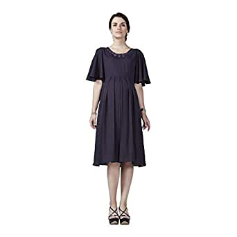 House of Napius Purple Maternity A Line Dress, Extra Extra Large