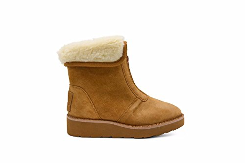 Fur Lined Wool Cold Weather Water Resistant Winter Ankle Boot - Amelia Chestnut mt0Vcua851
