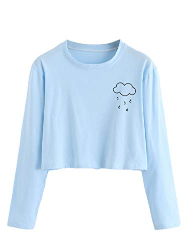 SweatyRocks Women's Floral Embroidered Casual Short Sleeve Crop Top T-Shirt (Small, Blue) ()