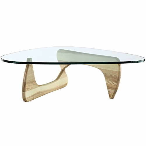 EMODERN FURNITURE eMod – Noguchi Coffee Table Triangle Glass Top Natural Base For Sale