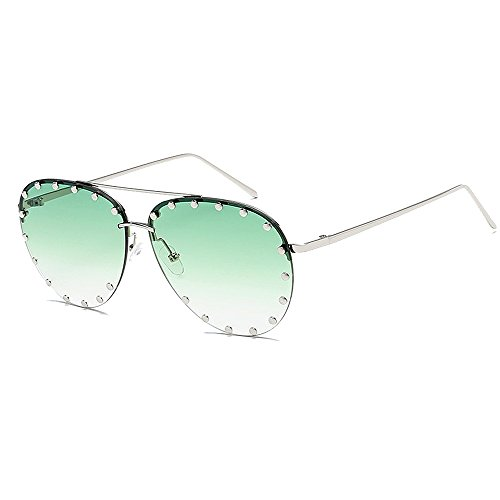BVAGSS Women Rimless Oversized Sunglasses Colorful Lens Rivet Fashion WS027 (Silver Frame, Gradient ()