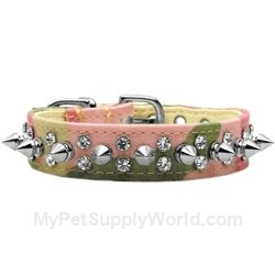 Dog Supplies Double Crystal And Spike Collar Pink Camo 12, My Pet Supplies