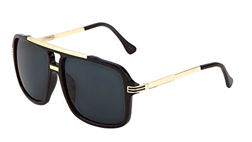 Large Flat Top Aviator Sunglasses Metal Bridge Sport Racing Mens Fashion (Black/Gold, 58)