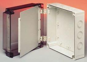 Fibox Enclosures Fibox UL PCM 175/100 T Mnx Knock-Out Series NEMA 4X Polycarbonate Enclosure Base with Metric Knock-Outs and TPE Gasket 7.1x7.1x3.9, 7.1