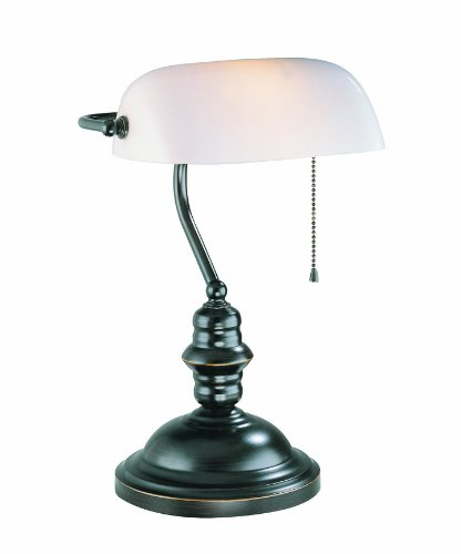 Contemporary Bankers Lamp (Lite Source LS-224D/BRZ Banker's Lamp, Dark Bronze with Frost Glass Shade)