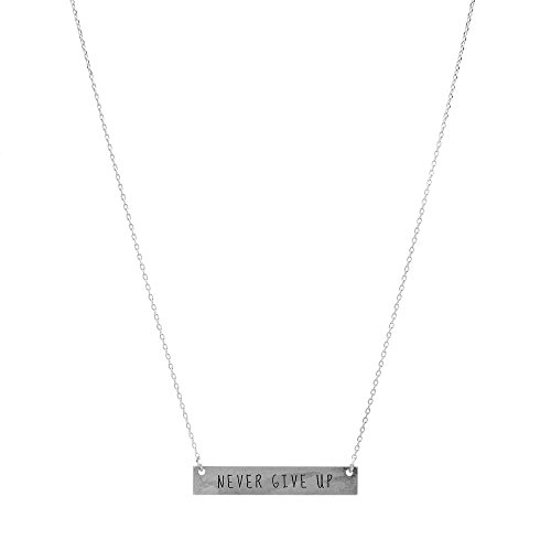 chelseachicNYC Inspirational Mantra Message Bar Necklace (Never Give Up-Silver) (Up Necklace)
