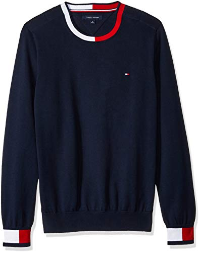 (Tommy Hilfiger Men's Adaptive Crew Sweatshirt with Velcro Shoulder Closure, Navy Blazer XX Large)