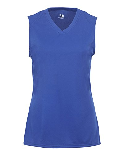 Sleeve Lap Neck Tee (Badger B-Core Girls Performance Solid Color Lap Neck Sleeveless Tee XL ROYAL)
