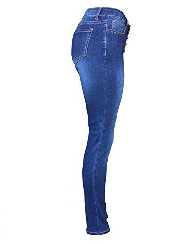 Boyfriend Skinny Alta Blu Vita Scuro Jeans Up Push Guiran Pantaloni Leggings Stretch Donna aUFqY
